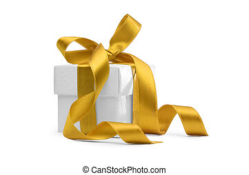 present box with yellow ribbon isolated on white background