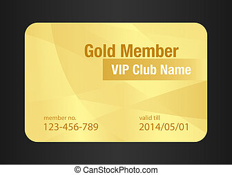 Gold VIP Club Card - VIP member card in golden color with...