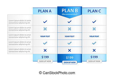 Pricing List with Recommended Option - Table with...