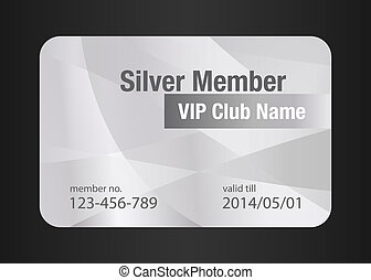Silver VIP Club Card - VIP member card in silver color with...