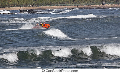 Lifeboat in Action - A small lifeboat from North Berwick in...
