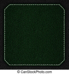 green leather background with white seam on black rough...