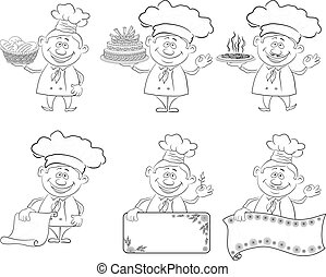 Set of cartoon cooks, chefs, outline - Set of cartoon cooks,...