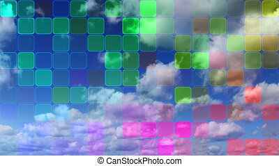 loopable clouds and colorful mosaic - timelapse clouds and...