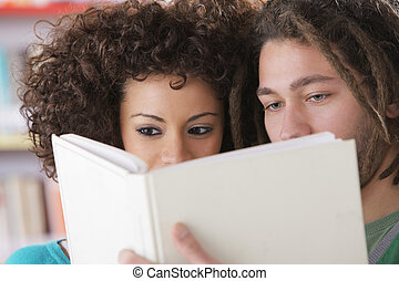 Two students learning together - Two students reading a book...