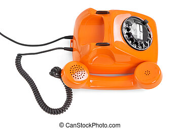 bakelite rotary phone on white background