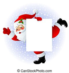 Santa Claus with sign - illustration of Santa Claus with...