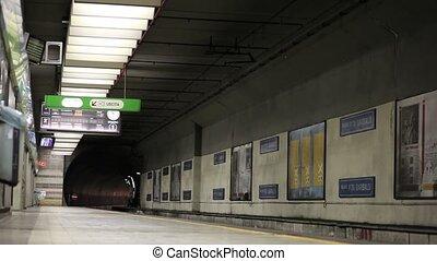 Train in the underground railroad station, Milan