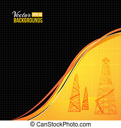 Oil derrick. - Oil derrick with text field. Vector...