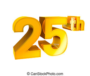 Gold Alphabet Anniversary 25 - 3D Gold Character Collection....