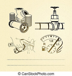 Oil icons set. Vector illustration, eps 10, contains...