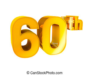 Gold Alphabet Anniversary 60 - 3D Gold Character Collection...