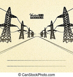 Electric pylons in perspective. Vector illustration, eps 10,...