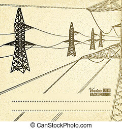 High voltage pylons. - High voltage pylons over sepia text...