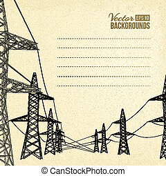 High voltage power lines. - High voltage power lines over...
