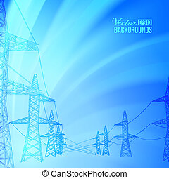 power line on a white background. Vector illustration, eps...