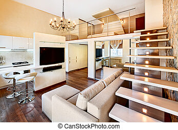 Modern minimalism style two-high drawing-room interior with...