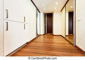 Modern minimalism style corridor interior with sliding-door...