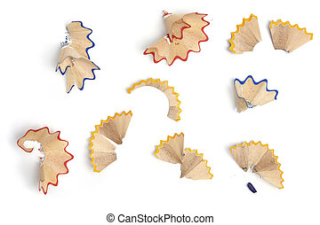 Pencil shavings, different colors - Set of shavings from...