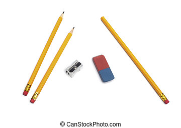Pencil, eraser rubber, sharpener