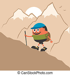 Mountaineering - Cartoon Character climbing mountain slope...