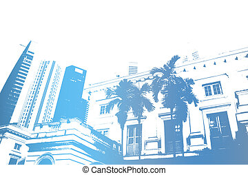 Blue Trendy and Modern City Life Abstract