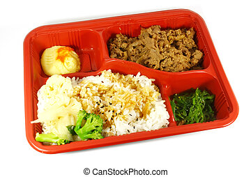 Japanese Quick Meal Set Isolated on a White Background