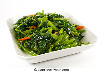 Stir Fried Vegetables on a White Plate Single Serving