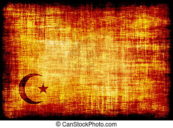 Islam Crescent Engraved on a Parchment Background