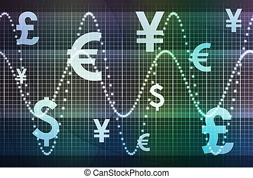 Blue Green Financial Sector Global Currencies Abstract...