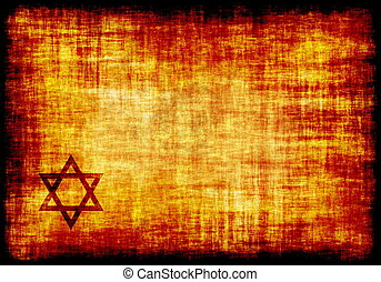 Jewish Star Engraved on a Parchment Background