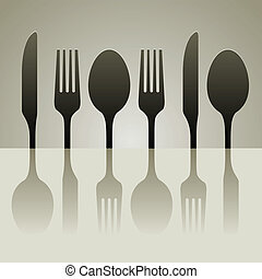 cutlery shadow - cutlery silhouette of knife fork and spoon...