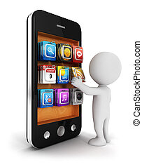 3d white people chooses an app for smartphone, isolated...