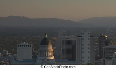 downtown Salt Lake City at sunset with Capitol dome