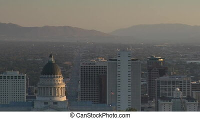 Salt Lake City establishing shot with Capitol dome