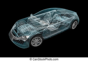 Car wireframe. My own design.