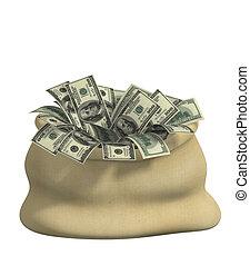 3d bag, filled dollars