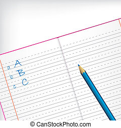 First grade copybook with pencil - First grade copybook with...