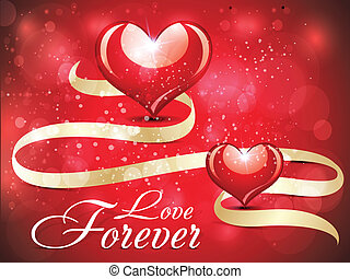 abstract glossy love card design with sparkle vector...