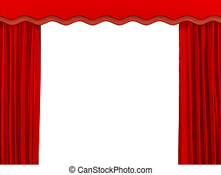 Theatrical curtain of red color Object over white