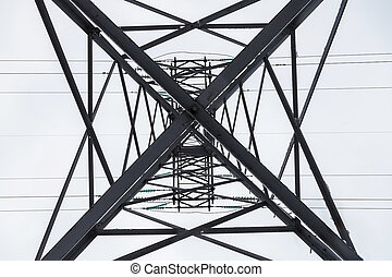Reliance power line, bottom view, constructivist background
