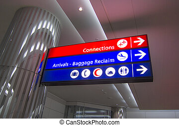 Airport direction sign in middle east