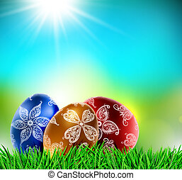 Eggs on natural background - Easter eggs on natural...