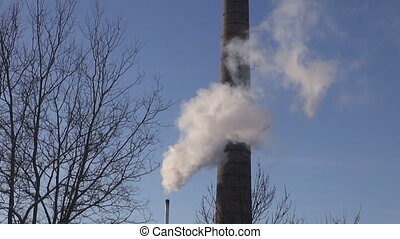 winter Smokestack Pollution in the air