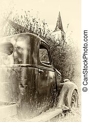 Old Truck - The old truck rusting away in the bush behind...