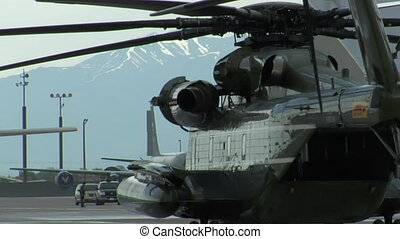 Side shot of Presidential Marine helicopter