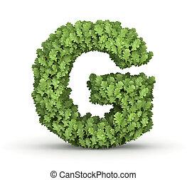 Letter G from green leaves - Letter G from fresh green oak...