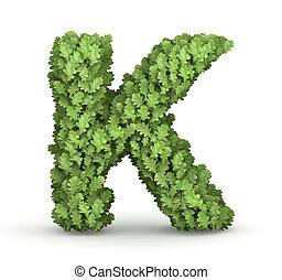 Letter K from green leaves - Letter K from fresh green oak...