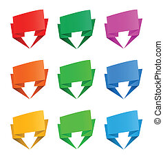 Set of origami paper banners