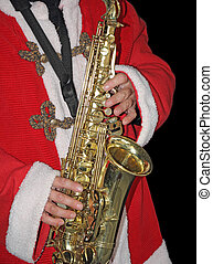 Saxophone - Santa Claus in a red fur coat, playing the...